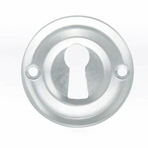 Old English Solid Brass Open Key Escutcheon Satin Chrome