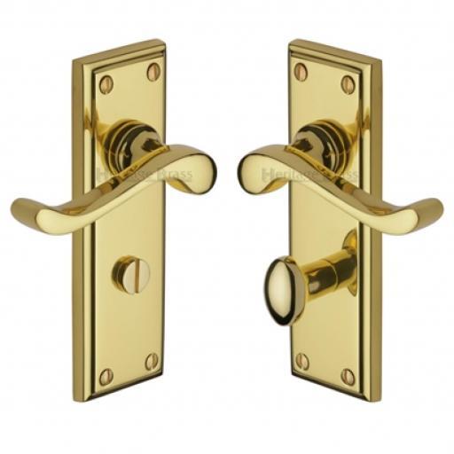 Heritage Brass Door Handle for Bathroom Edwardian Design Polished Brass finish.jpg