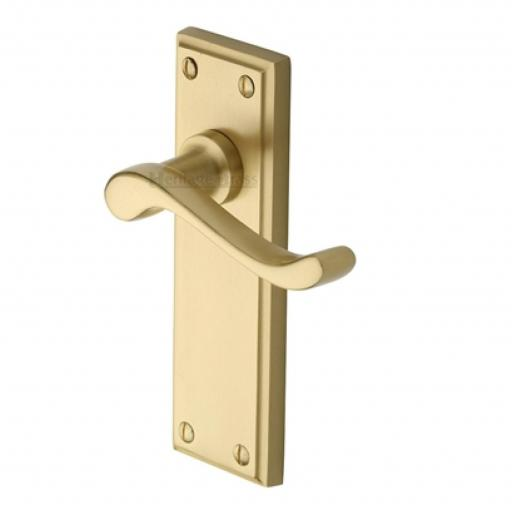 Heritage Brass Door Handle Lever Latch Edwardian Design Satin Brass Finish.jpg