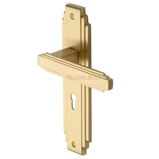 Heritage Brass Door Handle Lever Lock Astoria Design Satin Brass finish.jpg