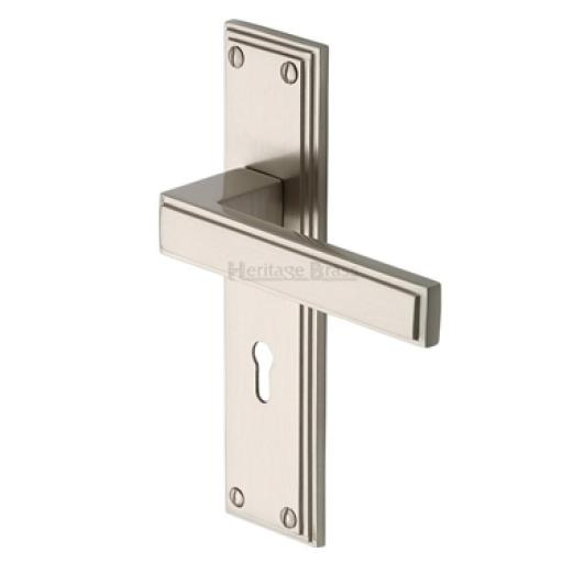 Heritage Brass Door Handle Atlantis Satin Nickel