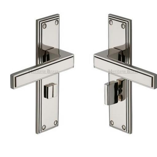 Heritage Brass Door Handle for Bathroom Atlantis Design Polished Nickel finish.jpg