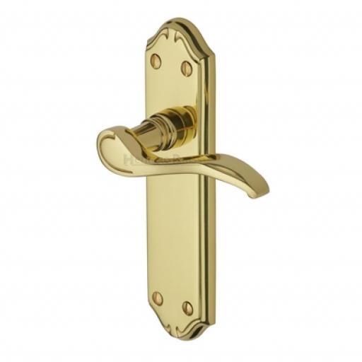 Heritage Brass Door Handle Lever Latch Verona Small Design Polished Brass finish.jpg