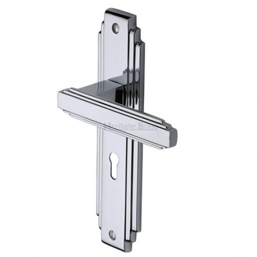 Heritage Brass Door Handle Astoria Design Polished Chrome