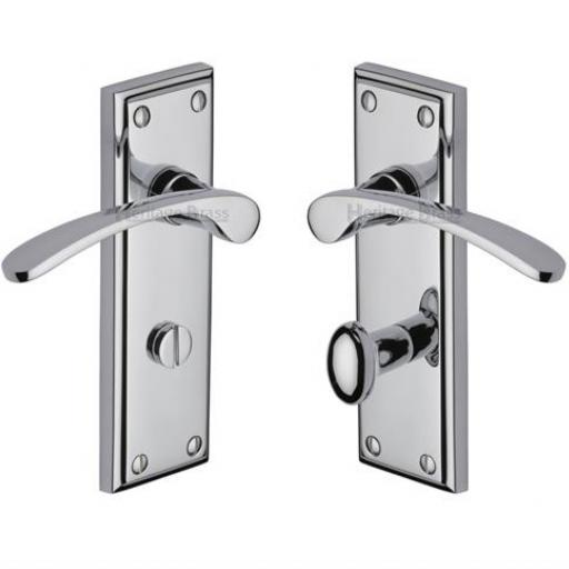 Heritage Brass Door Handle for Bathroom Hilton Design Polished Chrome finish.jpg