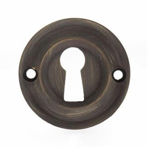 Old English Solid Brass Open Key Escutcheon Urban Bronze