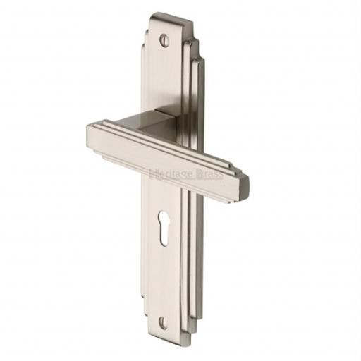 Heritage Brass Door Handle Astoria Design Satin Nickel