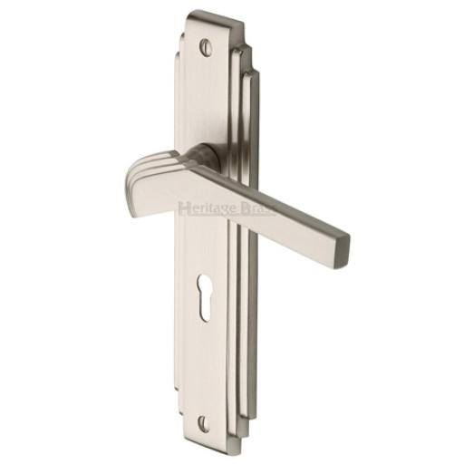 Heritage Brass Handle Tiffany Design Polished Nickel