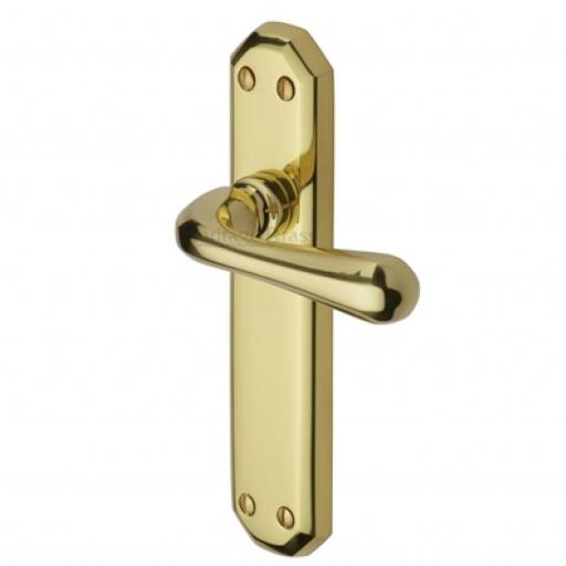 Heritage Brass Door Handle Lever Latch Charlbury Design Polished Brass finish.jpg