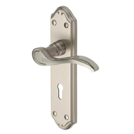 Heritage Brass Door Handle Lever Lock Verona Small Design Satin Nickel finish.jpg