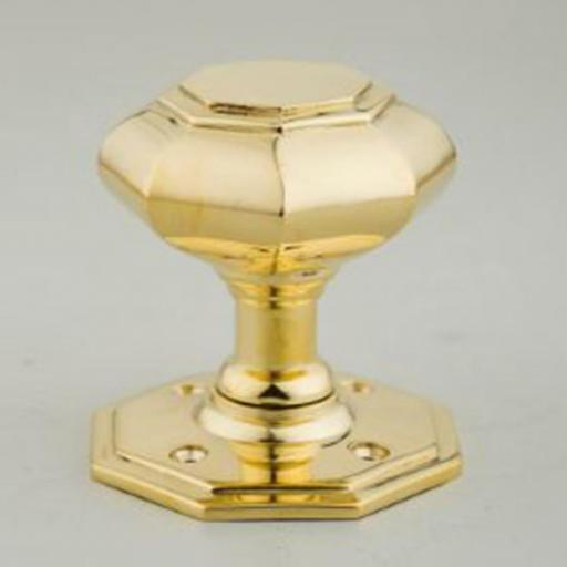 Octagonal Knob in Brass