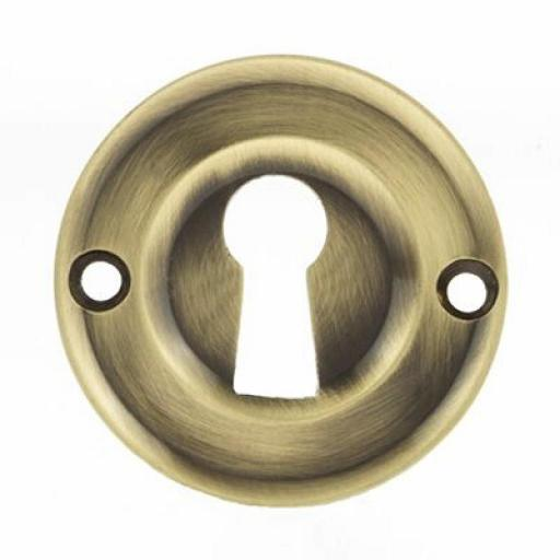Old English Solid Brass Open Key Escutcheon Antique Brass