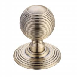 Ringed Mortice Knob on Round Rose in Florentine Bronze
