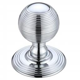 Ringed Mortice Knob on Round Rose in Polished Chrome