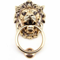Polished Bronze Lion Head Door Knocker