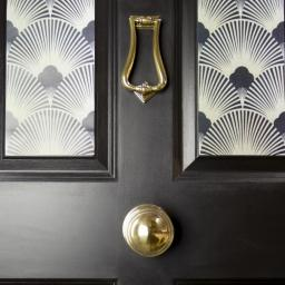 Aged Brass Art Deco Centre Door knob 5.jpg