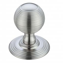 Ringed Mortice Knob on Round Rose in Satin Chrome