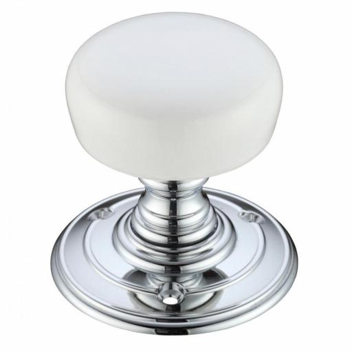 Porcelain Knob Plain White on Polished Chrome