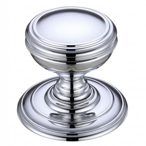 Mortice Knob on Round Rose in Polished Chrome