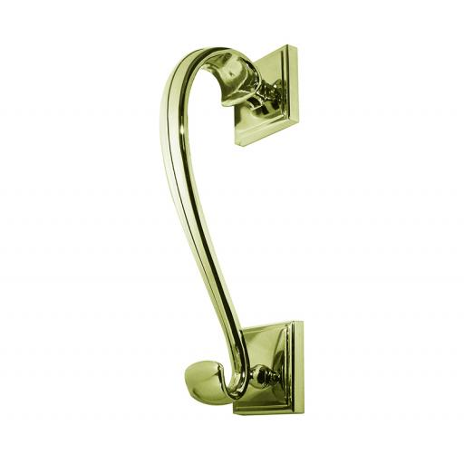 Sloane Door Knocker on Square Rose Polished Brass