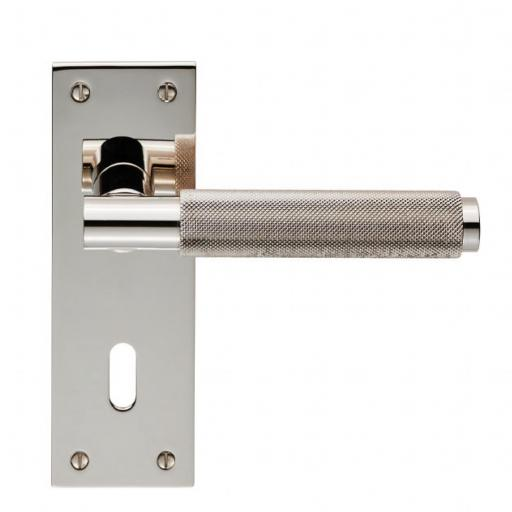 Varese Knurled Lever on Backplate - Polished NIckel